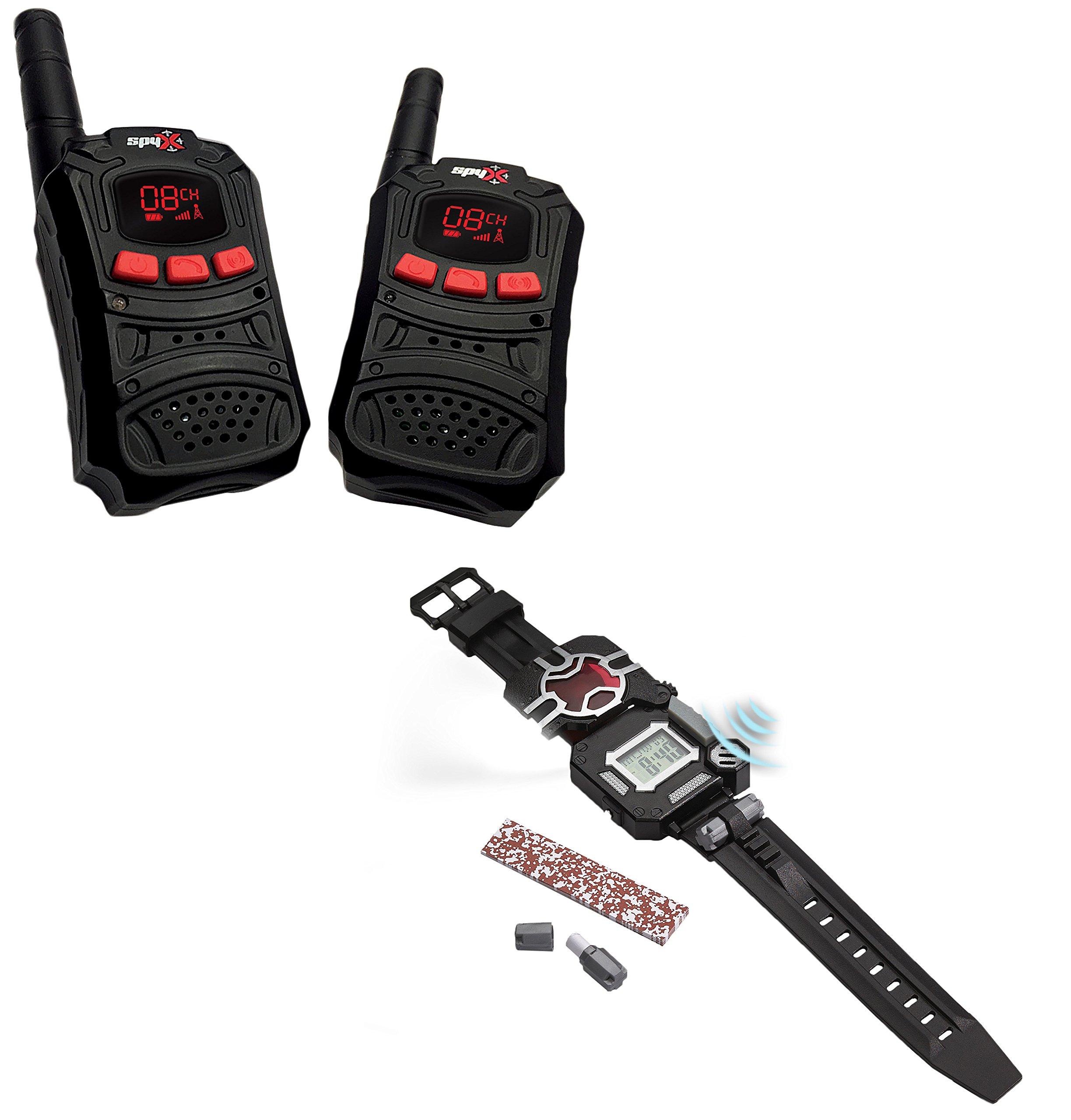 SpyX Walkie Talkies + Recon Watch - Double Agent Tool Set! 2 Pack Of Walkie Talkies + An 8-in-1 Watch. Essential Items for Any Spy Gear Collection To Get The Job Done While Spying On The Enemy