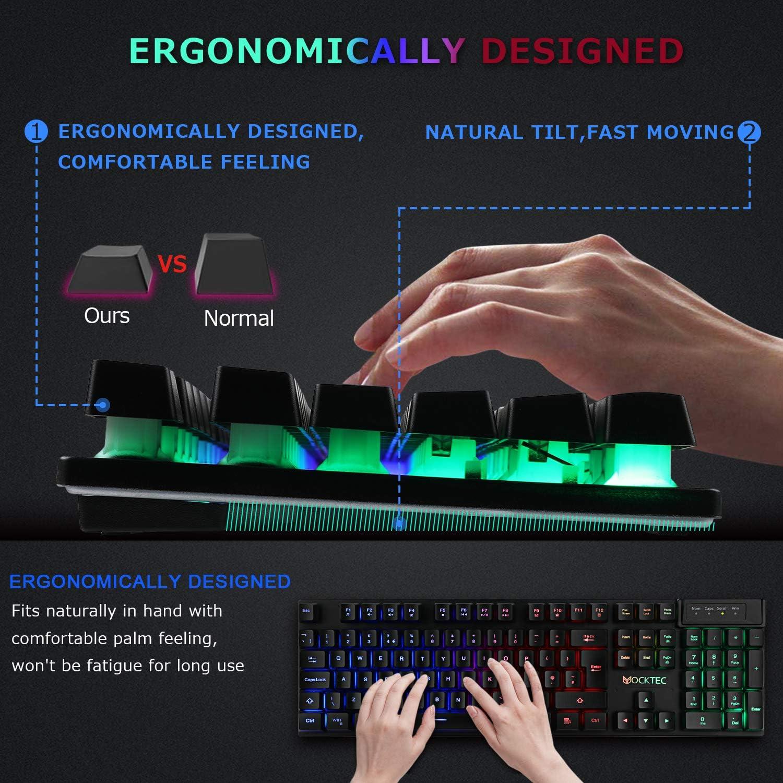 Tastiera Meccanica con Cavo USB retroilluminazione a LED Arcobaleno LUIBOR Facile da collegare a Laptop ECC. Antiscivolo Tastiera per Videogiochi PC