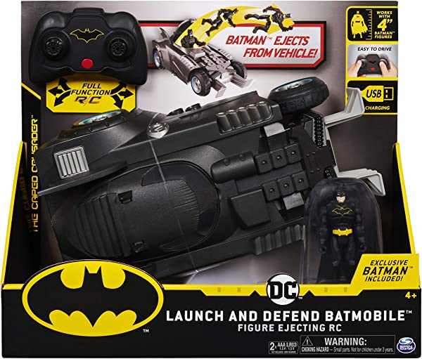 BATMAN Launch and Defend Batmobile Remote Control Vehicle with Exclusive 4-inch Action Figure toy for kids in package