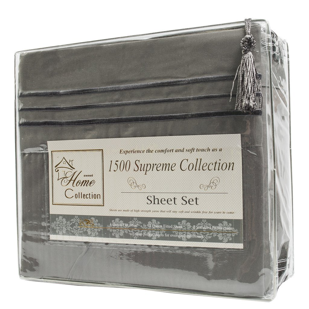 Extra Soft California King Sheets Set, Gray - Luxury Bed Sheets Set