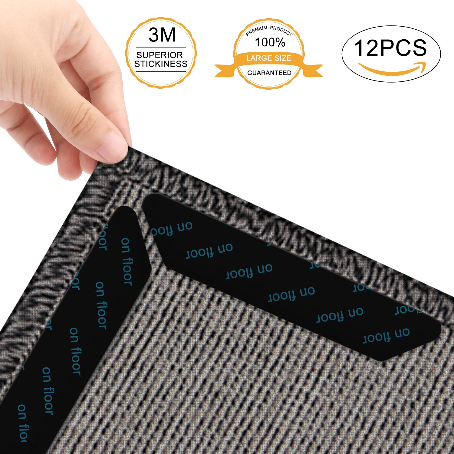 12PCS Rug Grippers, Lifelf Reusable Carpet Grippers With Anti Curling,Ideal Home Anti-slip Rug Pad Tape,Keeps Your Rug in Place and Makes Corners Edge Flat