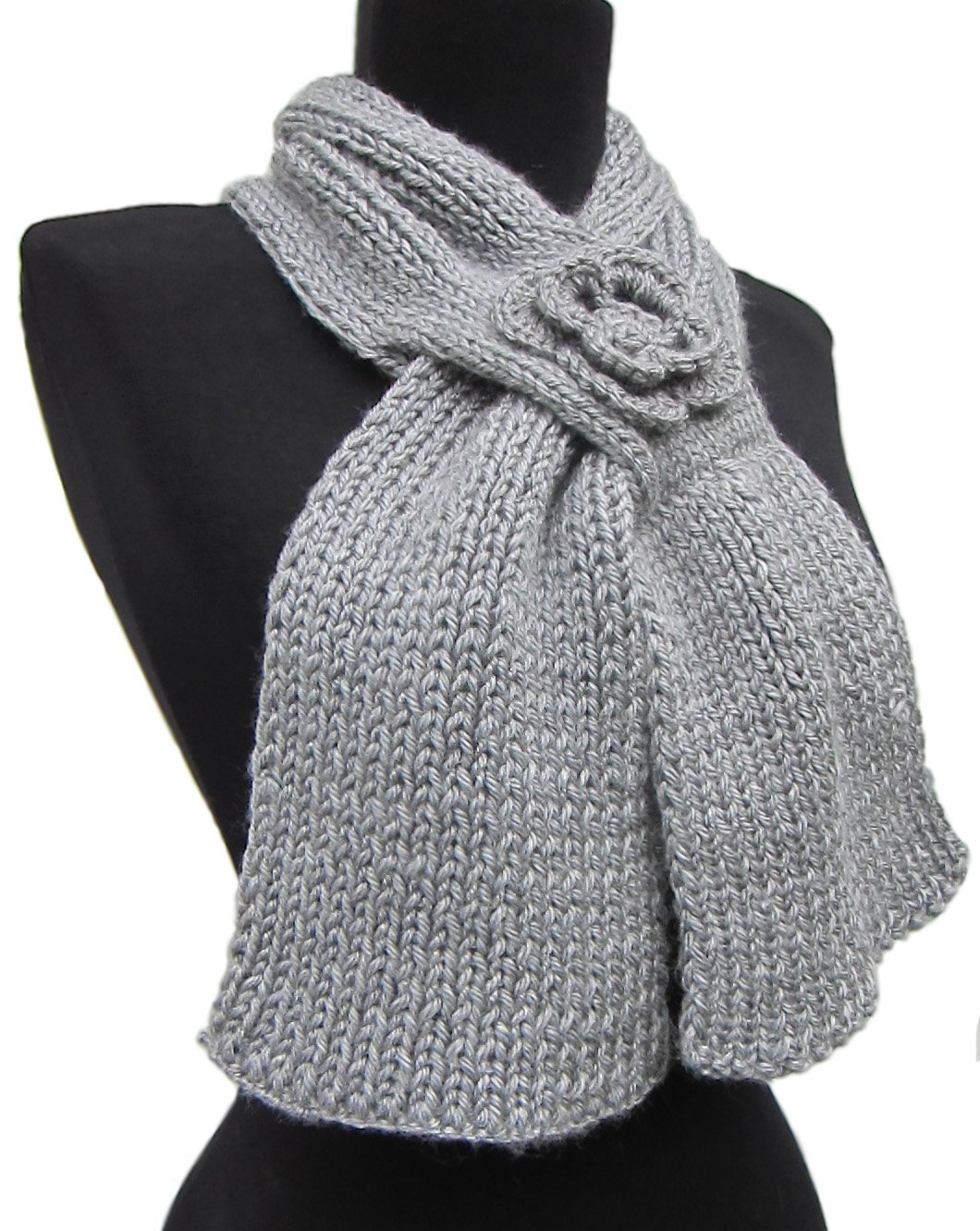 Handmade Alpaca and Wool Feminine Scarf - GRAY (CUSTOM MADE ORDER) by BARBERY Alpaca Accessories