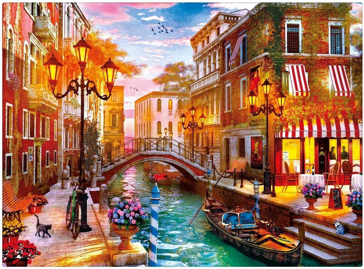 TWYYDP Puzzle Jigsaw 500 Pieces Venise sur leau Peinture De D/écoration Affiche