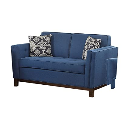 Amazon.com: ACME Lucius Blue Linen Loveseat with 2 Pillows ...