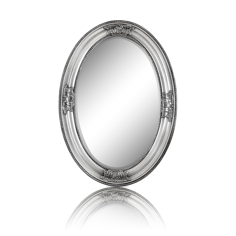 Specchio Ovale in stile Shabby Chic - Legno Massello - Fatto a Mano - Barocco - Grandi - 50x70 cm - Argento Antico - Rococo Casa Chic