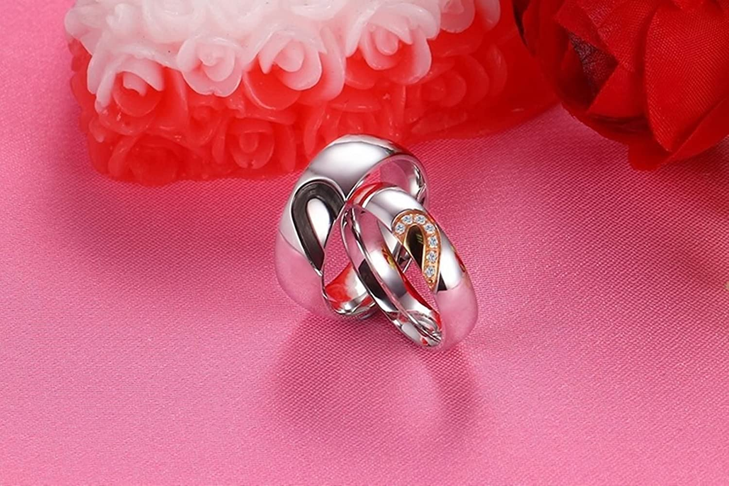 Beydodo His and Hers Rings Stainless Steel Promise Rings Couples Set ...