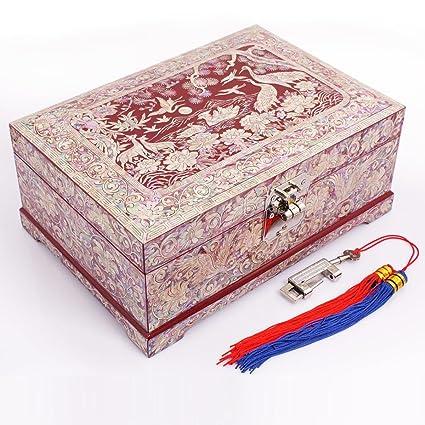 Meydlee Cajas para Joyas Caja de joyería - organizador de la joyería del clásico patrón chino