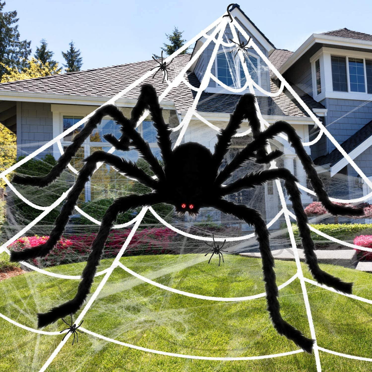 Apsung 275'' Halloween Giant Spider Web Decorations with 60'' Fake Scary Hairy Spider, 4 Small Spiders & Extra Stretch Cobweb for Indoor Outdoor Halloween Decor Yard Lawn Party Supplies