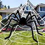 Apsung 275'' Halloween Giant Spider Web Decorations with 60'' Fake Scary Hairy Spider, 4 Small Spiders & Extra Stretch…