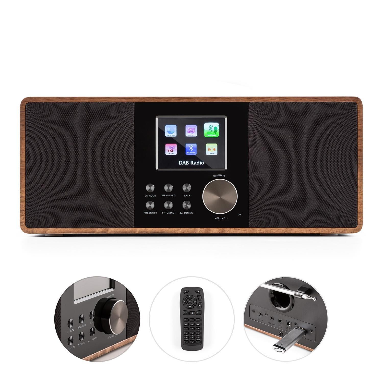 auna Connect 120 WN /• Internet /• num/érique /• WiFi /• Lecteur r/éseau /• Dab//Dab+//FM RDS /• BT /• USB MP3 /• AUX /• arr/êt Automatique /• TFT Couleur /• r/églage dintensit/é /&bull
