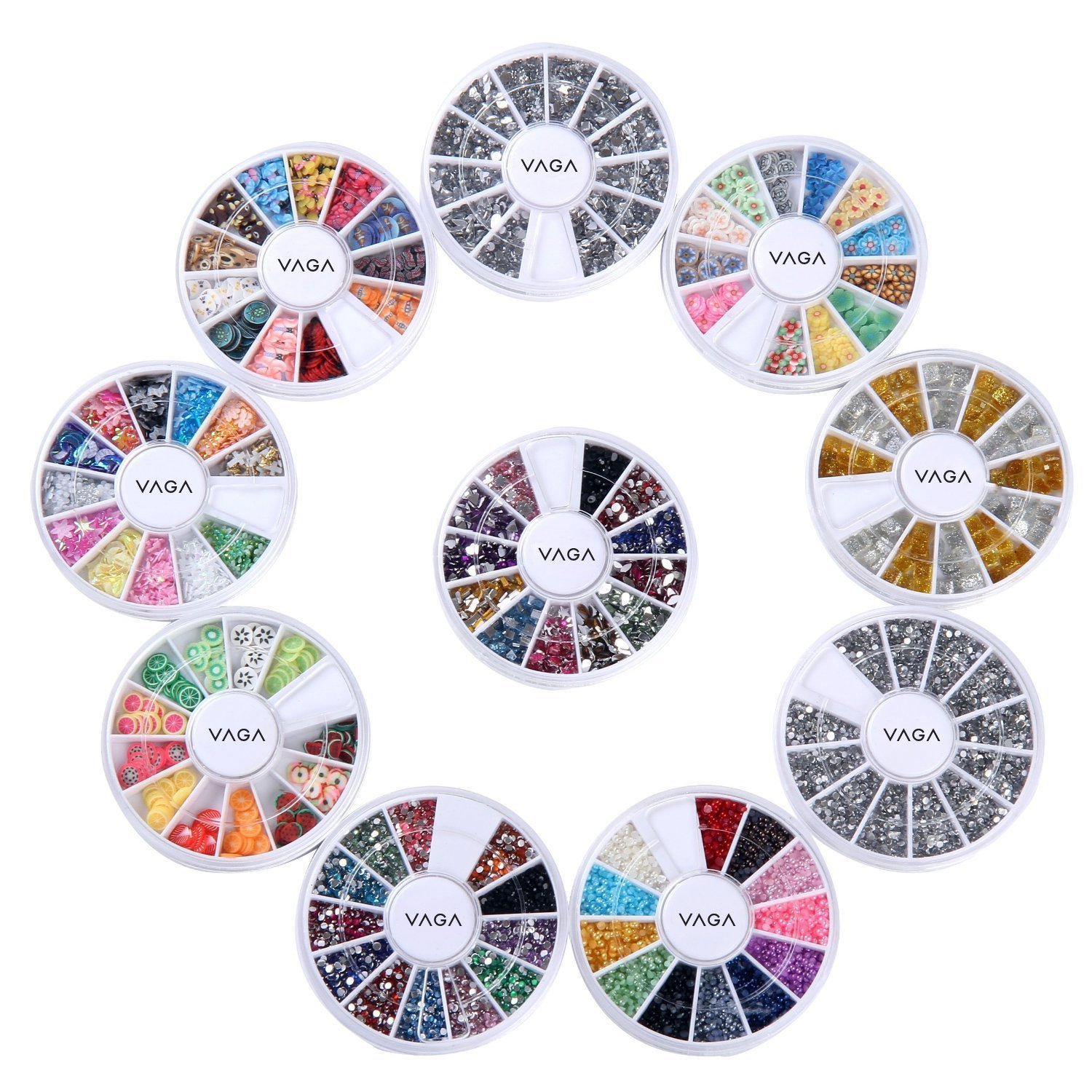 Amazing Value Set of 10 Wheels Premium Manicure Nail Art Decorations Many Colours / Shapes By VAGA 036