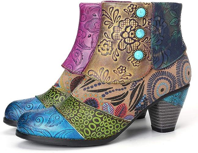 Camfosy Bottines Cuir Femmes Talons Chaussures de Ville Hiver /à Talons Hauts Confortable Bottes Santiags Habill/é Zip Boots Originales Boh/ème Color/ées 2019