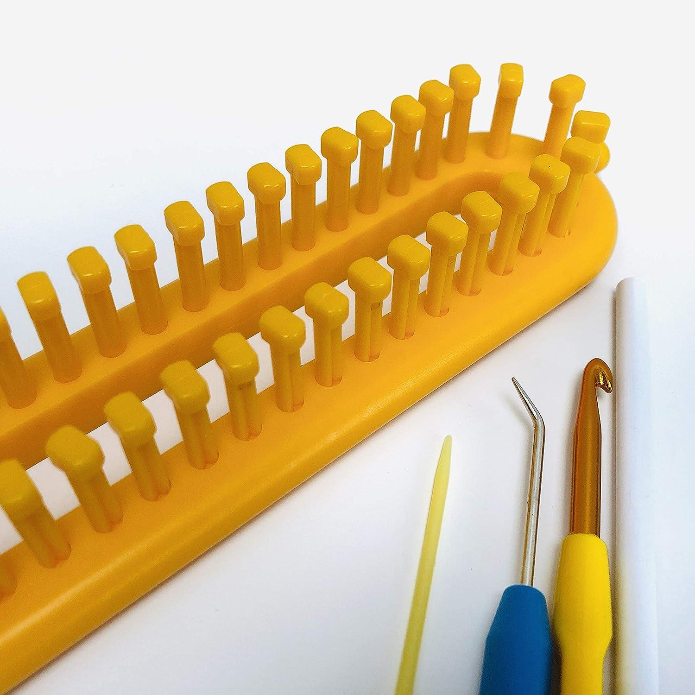 medium gauge loom. KnitUK Long Red Knitting Loom 52 pegs fitted