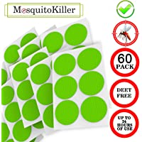 Mosquito Repellent Patch 3cm Resealable 60-Count Pack,Non-Toxic, DEET-Free, 24-Hour Protection, Apply to Skin Clothes, Adult, Kid Citronella, Peppermint, Lavender, Eucalyptus
