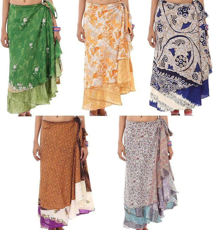 Craft N Craft India Two Layer Magic Silk wrap Around Skirt Bohemian Assorted Print /& Color Pack of 5 Dress Silk Sari Wrap Vintage Reversible Sari