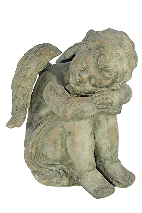 Image result for Casa Collection 11155 Angel Sitting with Head in her Arms - Stone Optic Light, Height 41 cm
