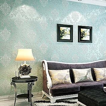 KINLO® Tapete Vlies 3d 10x0.53mTapete Wand Tapete Blau barock für  Wohnzimmer TOP Qualität Wandaufkleber für Schlafzimmer Möbelfolie barock  tapete ...