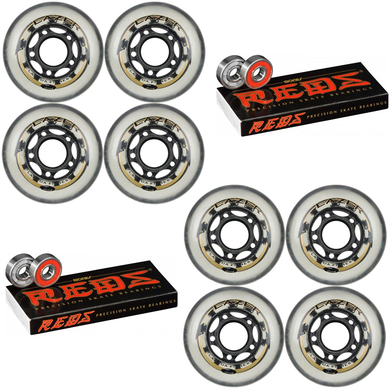 Labeda Wheels Inline Roller Hockey Lazer 82A 72mm Clear 8-Pack Bones Reds