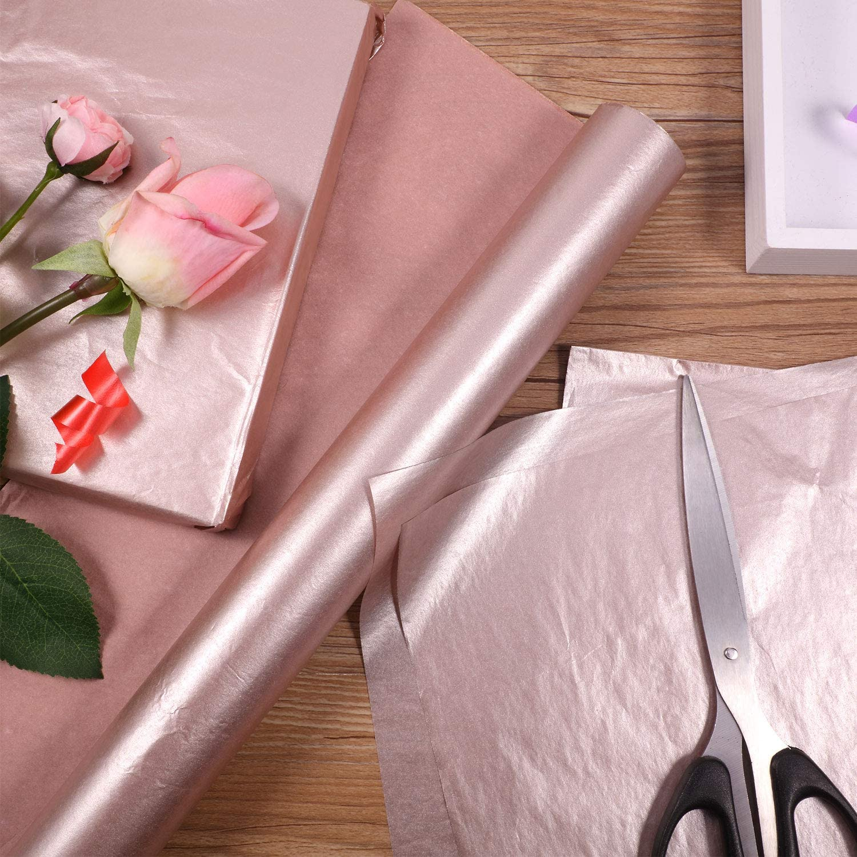 Lot de 50 feuilles de papier de soie de No/ël avec 2 rubans pour emballage cadeau de No/ël et f/ête Couleur or rose et blanc.