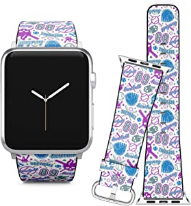 Compatible with Apple Watch (38/40 mm) Series 5, 4, 3, 2, 1 // Leather Replacement Bracelet Strap Wristband + Adapters // Baseball Softball Color
