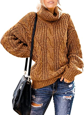 Functionaryb Women S Chunky Turtleneck Sweater Casual Long Sleeve Oversized Twist Knitted Pullover Jumper Amazon Co Uk Clothing
