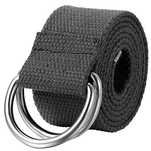 61cfac0843cd3e JewelryWe Schmuck Herren Damen Stoffgürtel, Einfarbig Casual D-Ring Yoga  Leinwand Textilgürtel Stricken Canvas Web Gürtel Belt, Schwarz: Amazon.de:  Schmuck