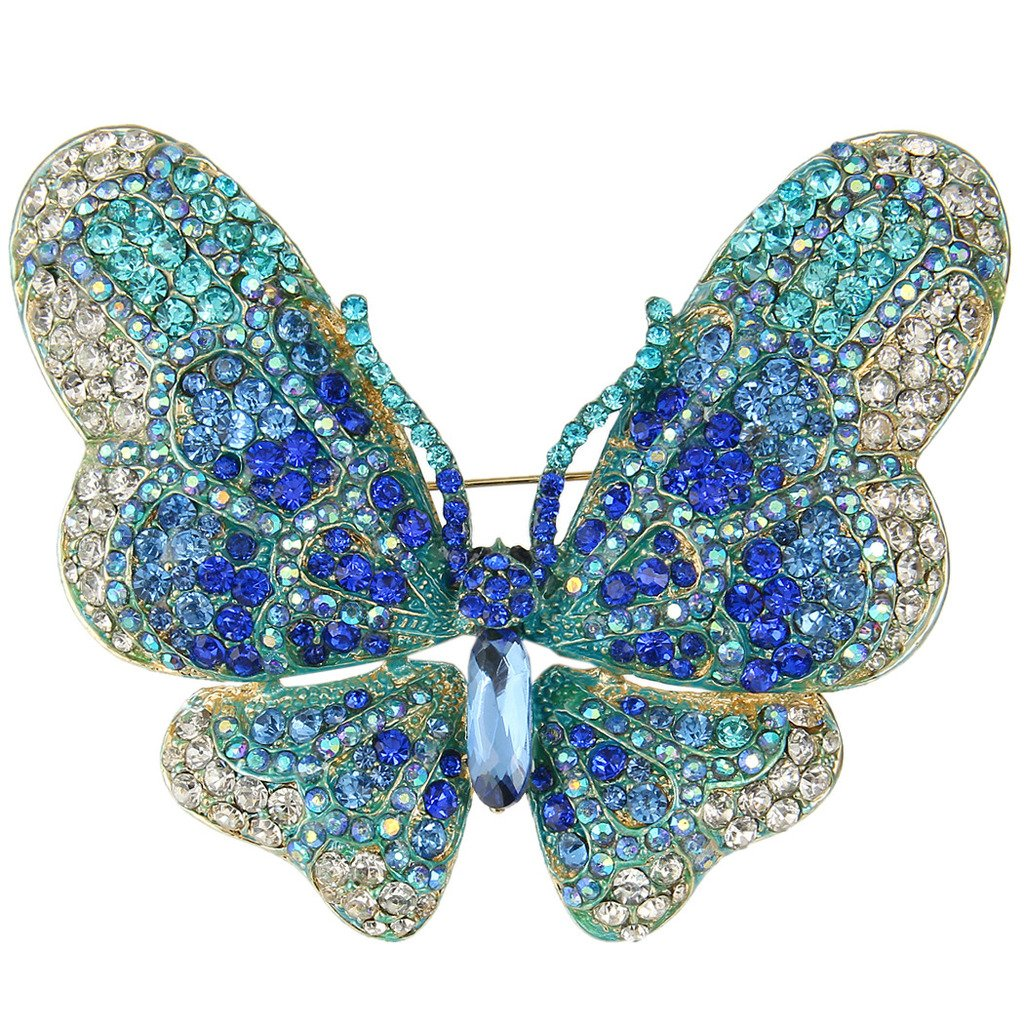 EVER FAITH Women's Austrian Crystal Butterfly Brooch Blue Gold-Tone