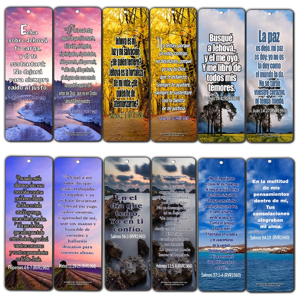 Spanish Christian Bible Verses Bookmarks - Release Stress and Anxiety (60-Pack) NewEights