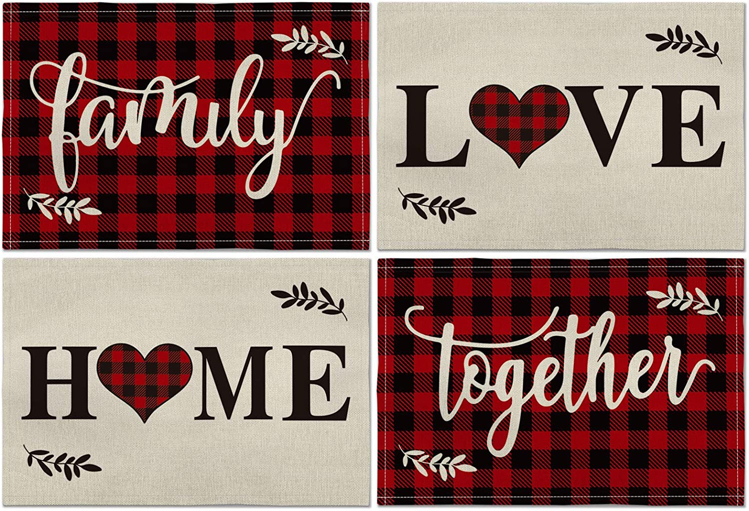 Artoid Mode Christmas Placemat for Dining Table Buffalo Plaid Love Home Family Togther, 12 x 18 Inch Winter Holiday Rustic Washable Table Mat Set of 4