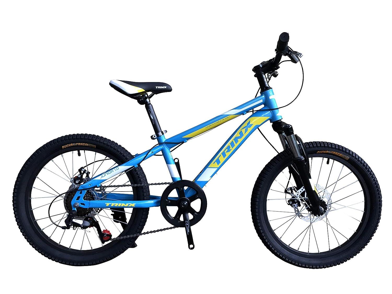 トリンクス(TRINX) 【子ども用自転車】本格派マウンテンバイク20インチ、フロントサスペンションShimano6速 前後ディスクブレーキ搭載でお子様も満足の1台! 街中から林道、山道まで頑丈な車体で安心安全、耐久性抜群なジュニアバイク JUNIOR1.0 ライトブルーイエロー 20インチ   B07RNJYCXV