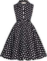 GRACE KARIN® Girls Retro Vintage Sleeveless Lapel Collar Polka Dots Dress