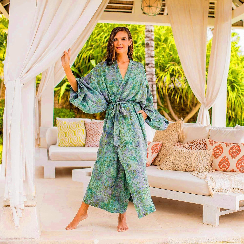 One Size Fits Most NOVICA Purple Rayon Batik Robe Misty Javanese Forest