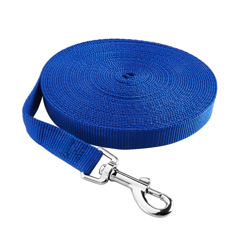 Warmcasa Nylon Hundeleine Trainingleine Doppelleine 30/50/65Ft Schleppleine Haustier-Gurtband-Leine für Kleine,mitterlere, große Hunde große Hunde(L Blau) SLLT