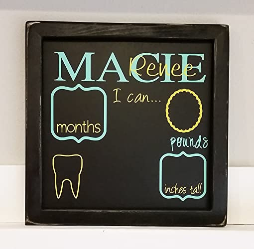 Amazon personalized reusable chalkboard monthly stats sign personalized reusable chalkboard monthly stats sign custom baby shower gift birthday gift new negle Image collections