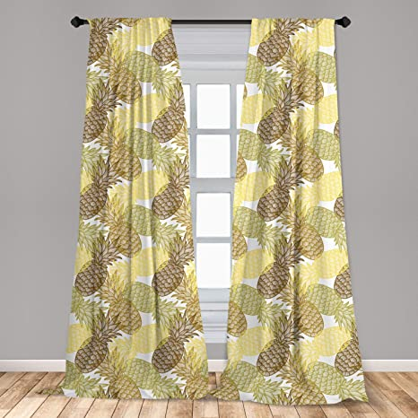Ambesonne Pineapple Curtains 2 Panel Set Summer Themed Overlapping Curving Exotic Tropical Pineapples With Lines Print Lightweight Window Treatment Living Room Bedroom Decor 56 X 63 Yellow Brown Home Kitchen
