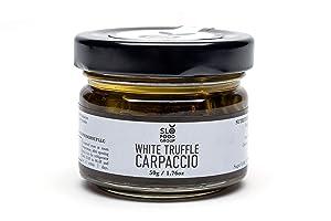 Slofoodgroup Truffle Carpaccio (White Truffle) (1.76 Oz) Tuber Magnatum Pico Preserved in Extra Virgin Olive Oil Gourmet Food Garnish Seasoning