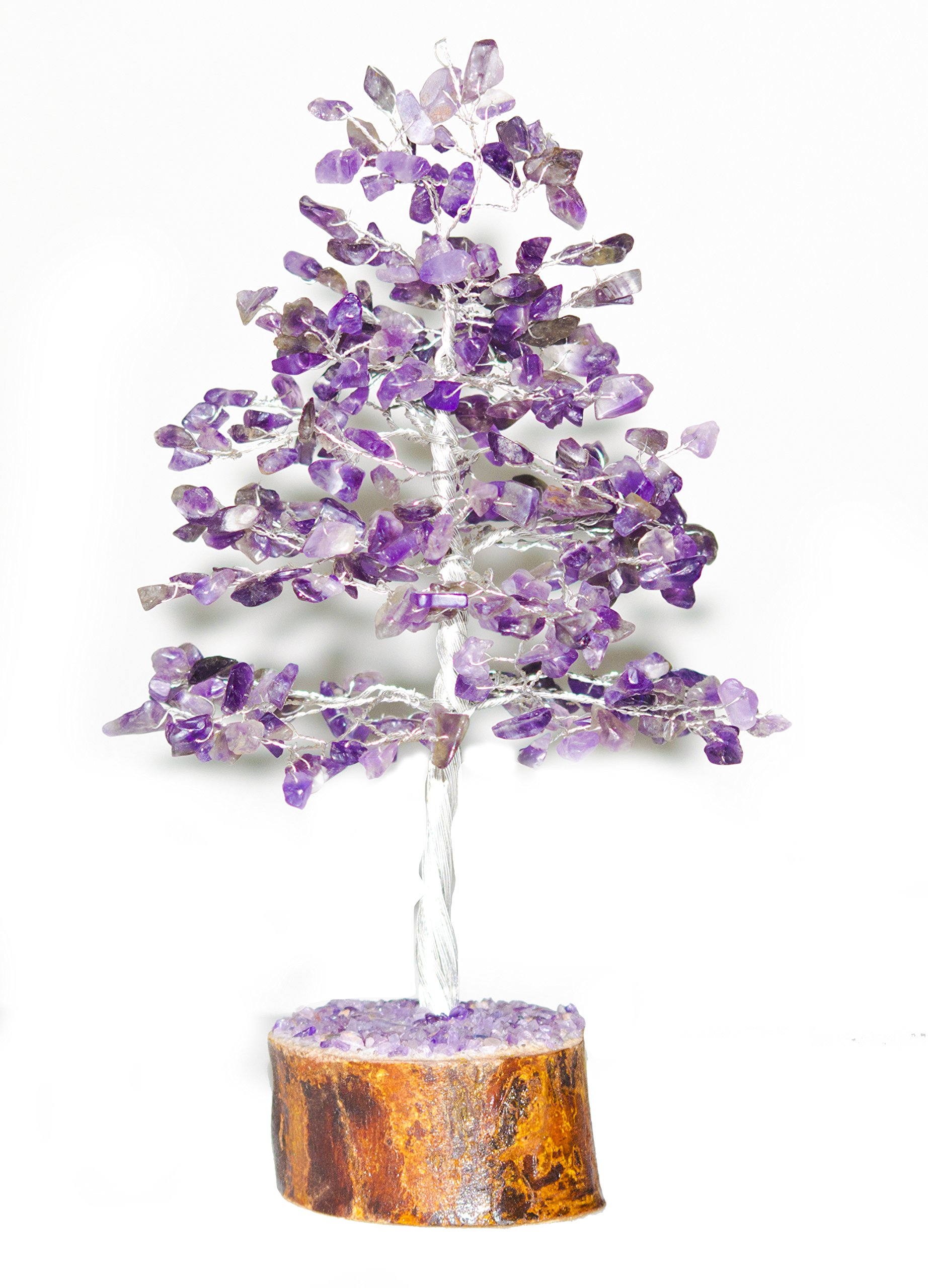 Crocon Natural Color Healing Gemstone Crystal Bonsai Fortune Money Tree for Good Luck, Wealth & Prosperity Spiritual Gift size 10 INCH (Silver Wire) (purple)