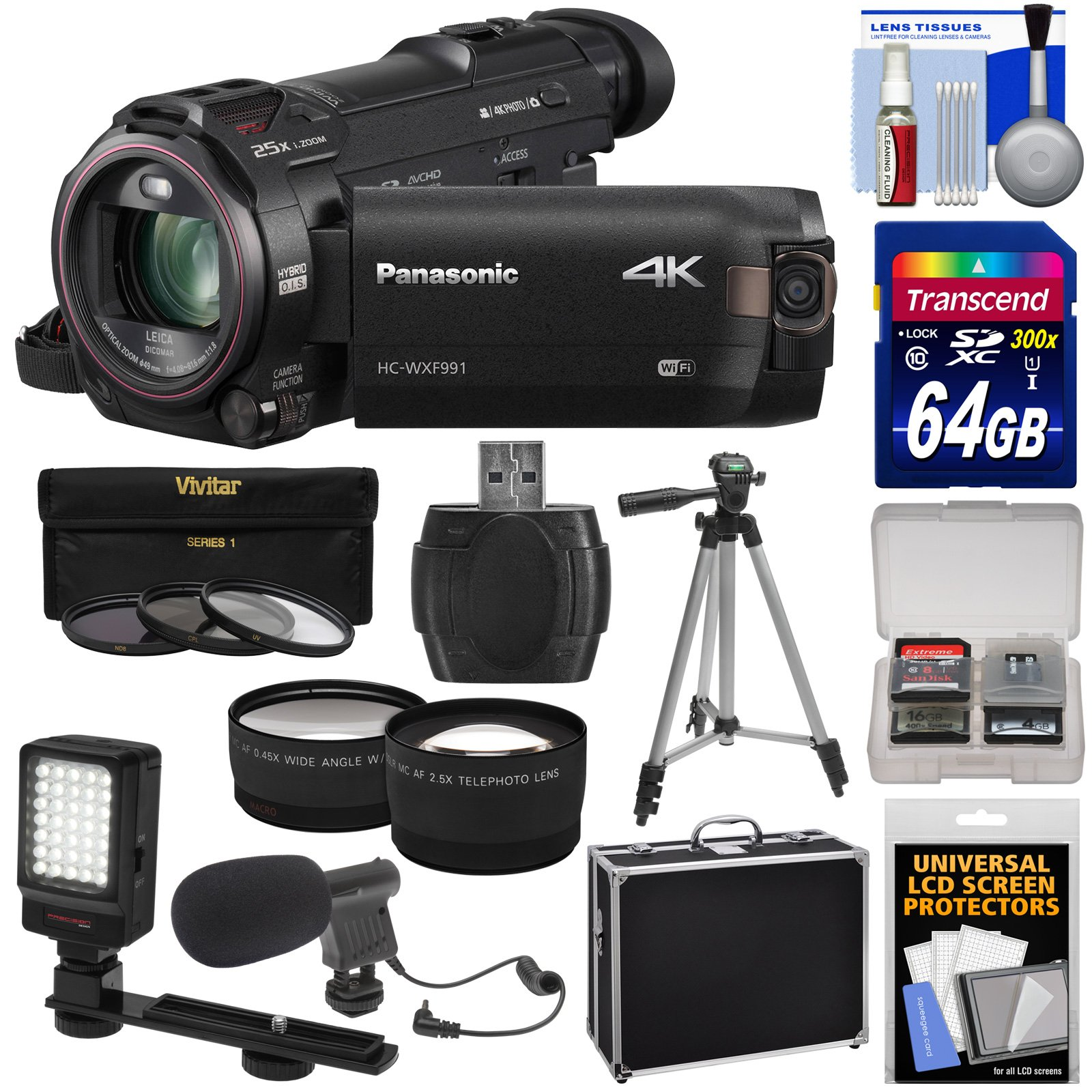 Panasonic HC-WXF991 Wi-Fi 4K Ultra HD Video Camera Camcorder with 64GB Card + Hard Case + Tripod + LED Light + Mic + Filters + Tele/Wide Lens Kit by Panasonic