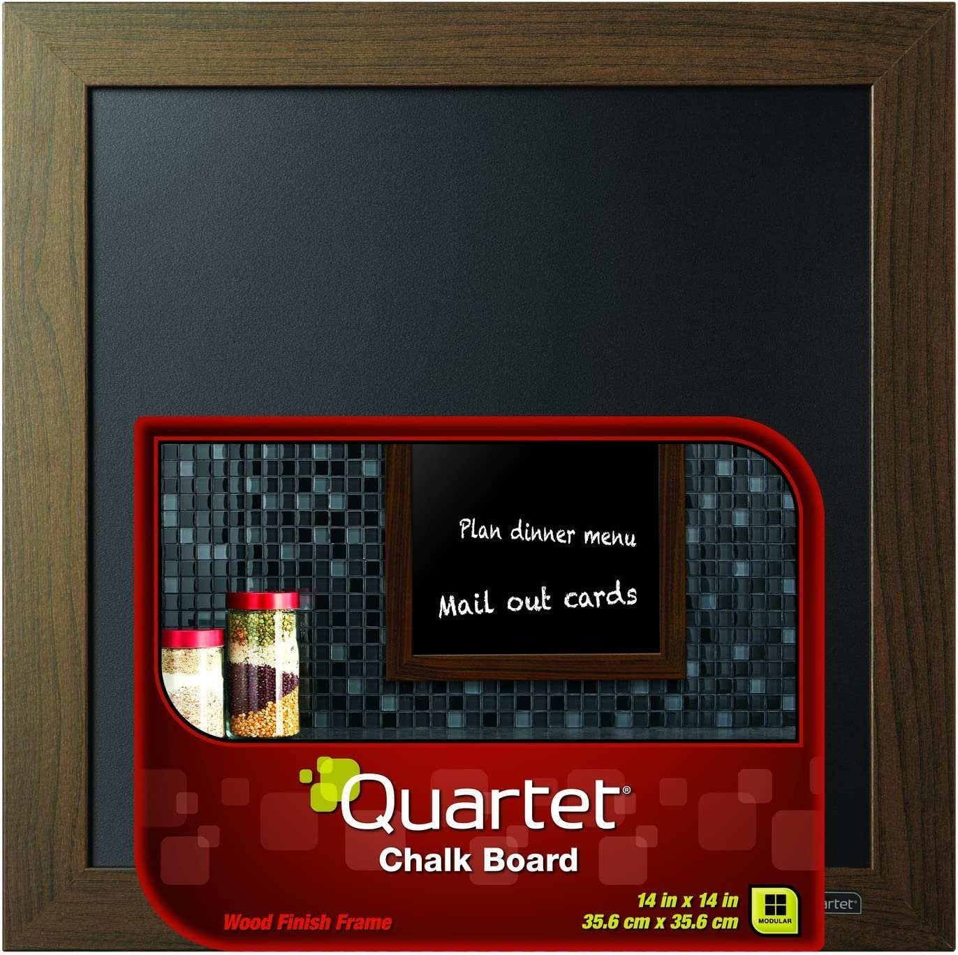 "Quartet Chalkboard, 14"" x 14"" Chalk Board, White Wood Finish Frame (90006) : Office Products"
