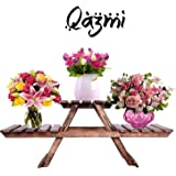 Wooden Living Room Side Stand/Wooden Stool/Flower Pot Stand Flower Vase Stand Home Décor Home Furnishing Wooden Multipurpose Folding Rack/Plant Stand with 3 Decks/Living Room Side Stand (Brown)