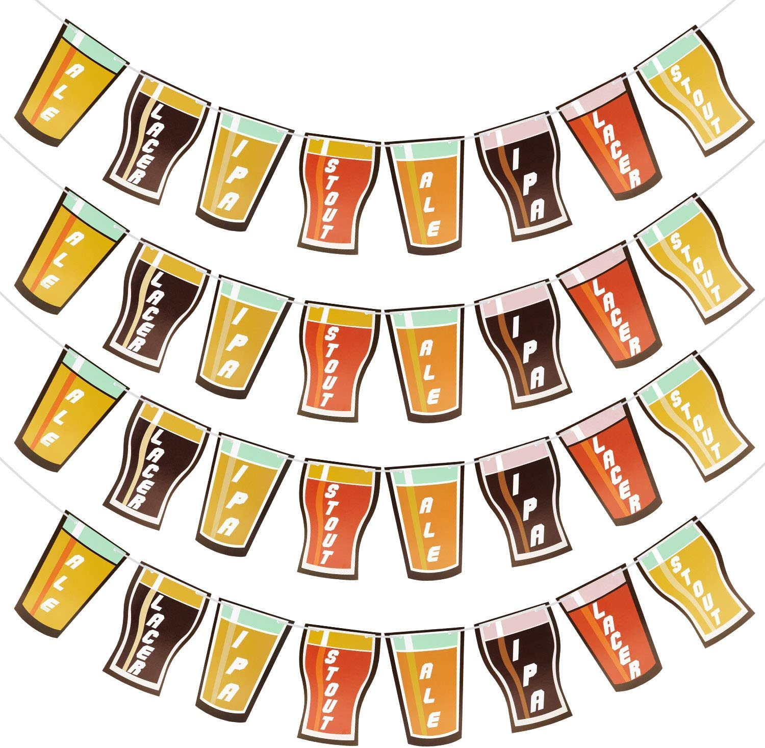 4 Pieces Beer Garland Octoberfest Party Beer Banner Garland for Birthday Wedding Anniversary Graduation Engagement Party
