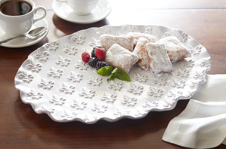 White Fleur De Lis Oval Platter