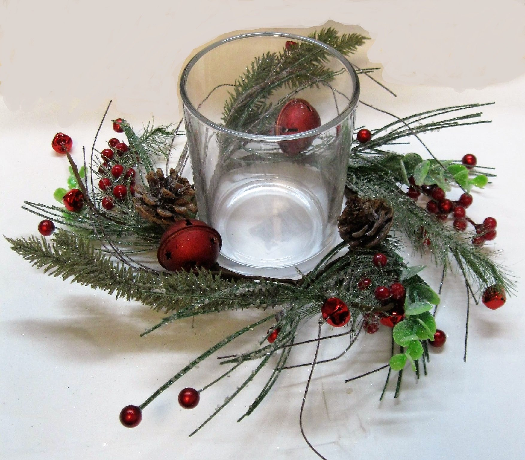 Christmas ICY Pine Red Bell & Red Berry Garland, Mini-Wreath, Candle Rings Hurricane CENTERPIECES (3'' x 5'' Clear Hurricane+4.5'' Candle Ring)
