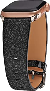 Greaciary Glitter Bling Band Compatible for iWatch Band 42mm 44mm,Leather Luxury Shiny Sparkle Strap Wristbands Women Replacement for iWatch Series 5/4/3/2/1