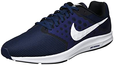 huge selection of 2f30f 38b6b Nike Men s Downshifter 7 Running Shoe Midnight Navy White Dark Obsidian  Black Size