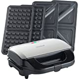 VonShef 2 in 1 Deep Filled Sandwich and Waffle Maker with Removable Plates - 800W - Stainless Steel