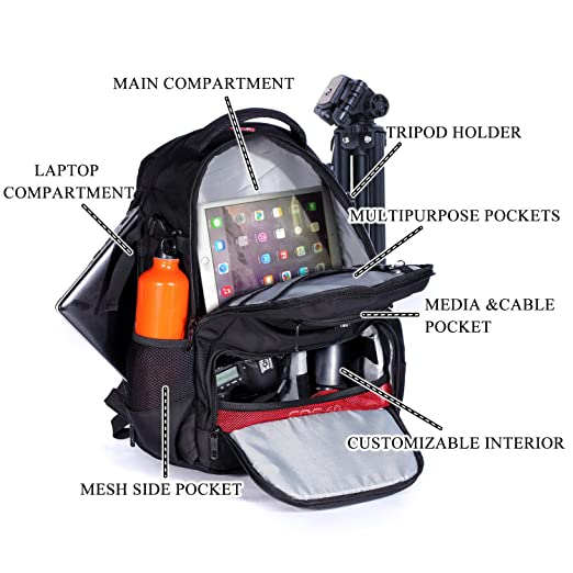 7a29748d05 Amazon.com   Victoriatourist DSLR Camera Bag Backpack with Laptop  Compartment and Raincover Fits 15.6 inch Laptops