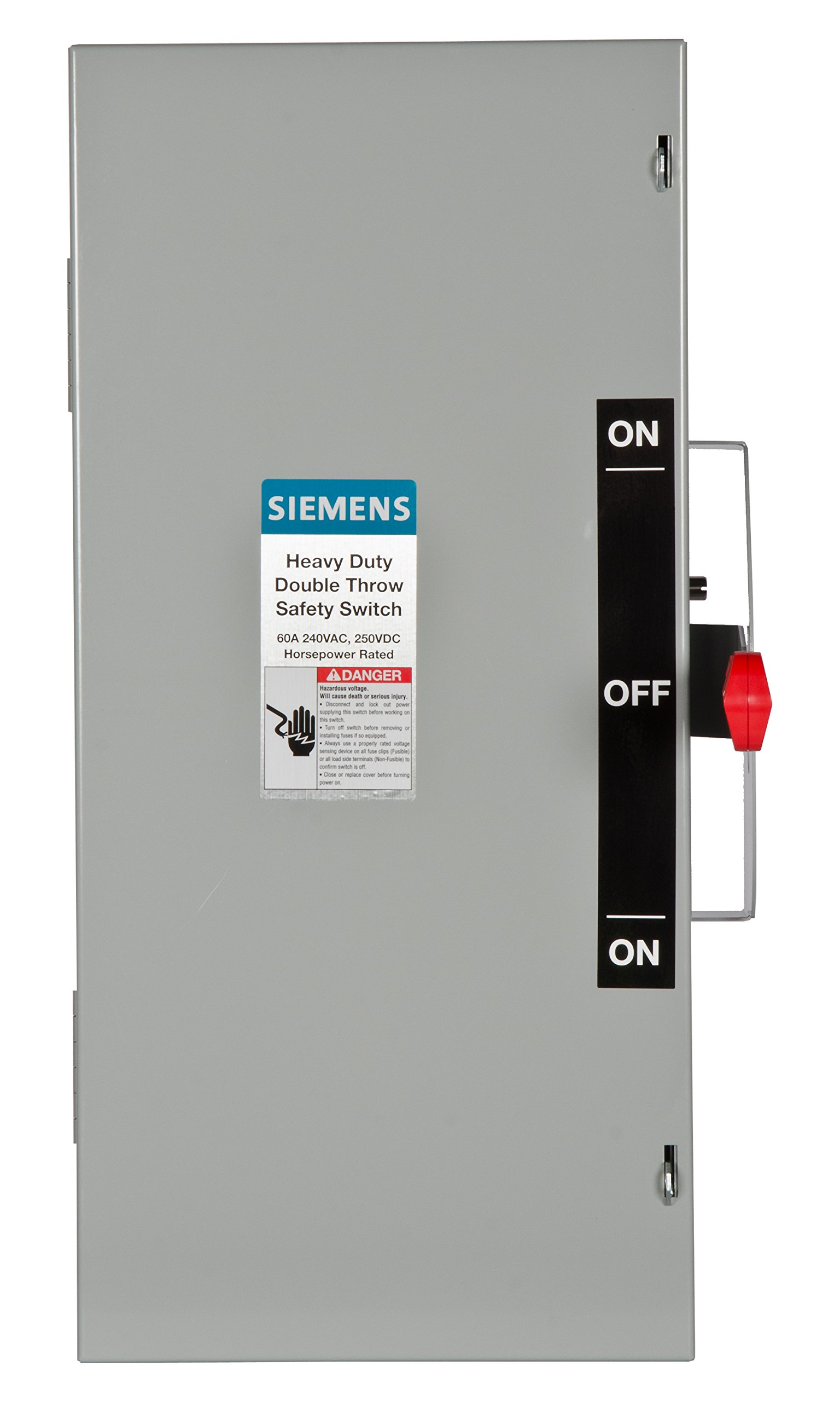 Siemens DTNF222 60-Amp 2 Pole 240-volt 2W Non-Fused Double Throw Safety Switches