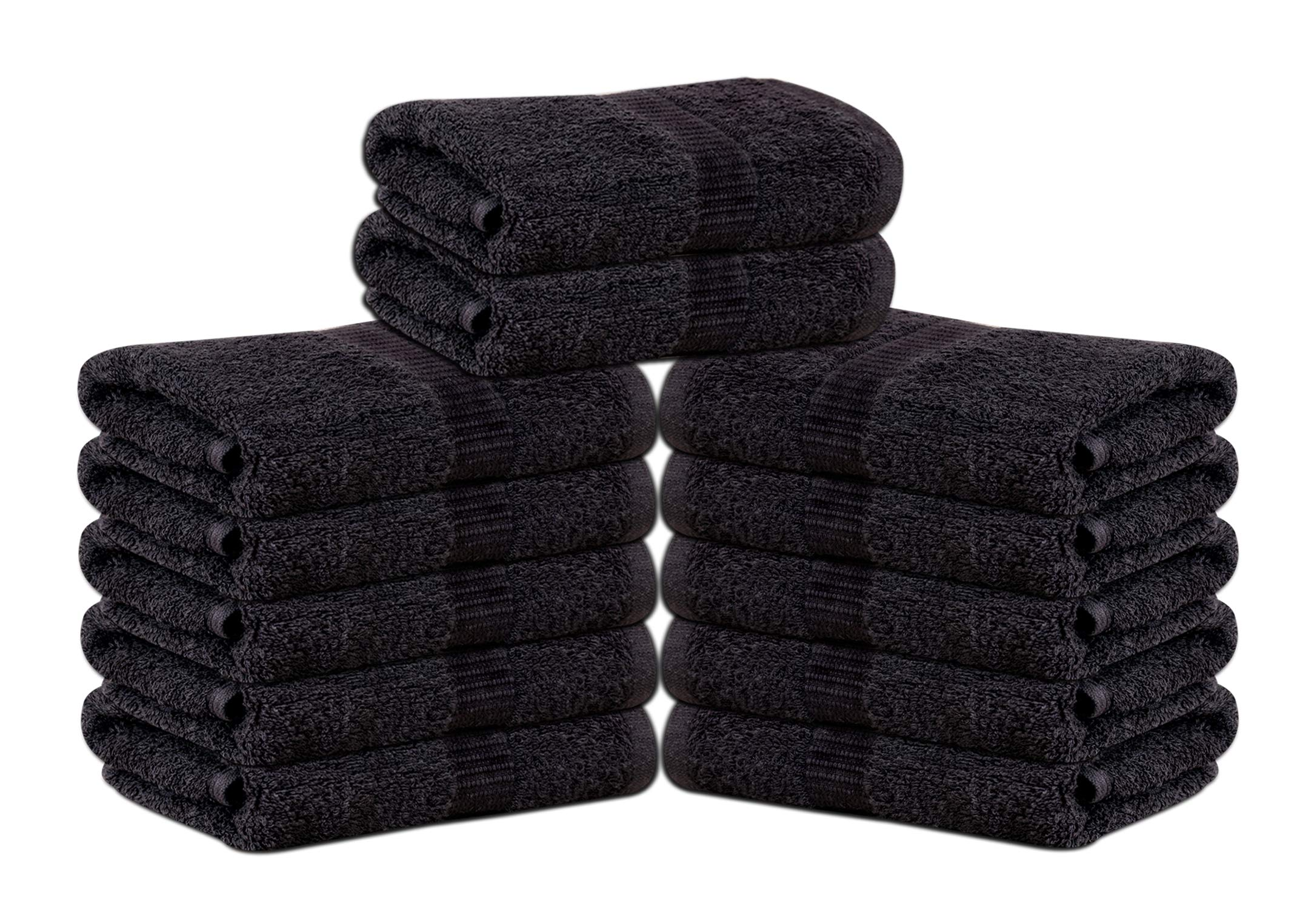 GOLD TEXTILES Premium Hotel Quality Large Hand Towels (12 Pack,Black,16''x30'') - Luxury Salon Towels- Multipurpose Use for Bath, Hand, Face, Gym and Spa -Soft, Thick & Highly Absorbent (12, Black) by GOLD TEXTILES