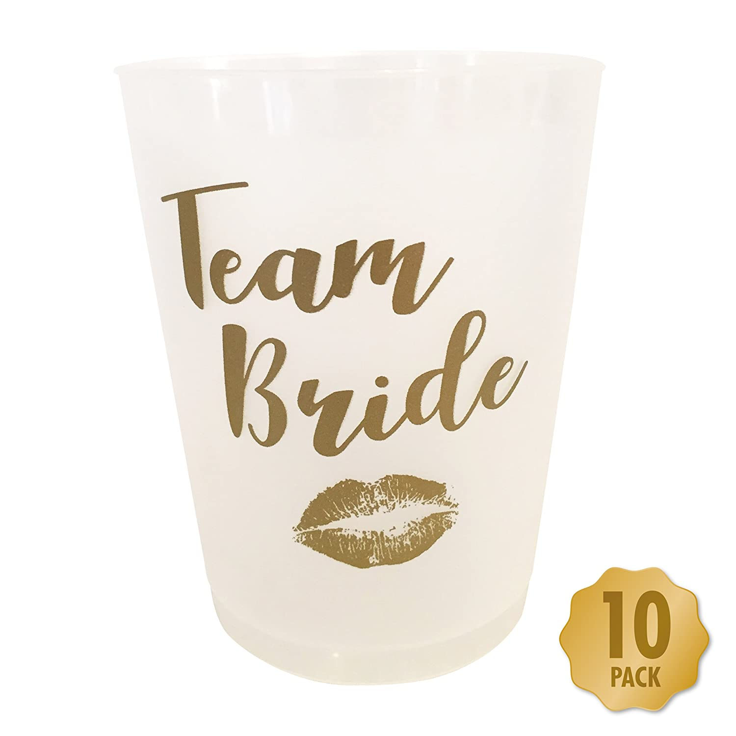 Team Bride Hen Party Drinking Cups - Pack of 10 White & Gold Myprints